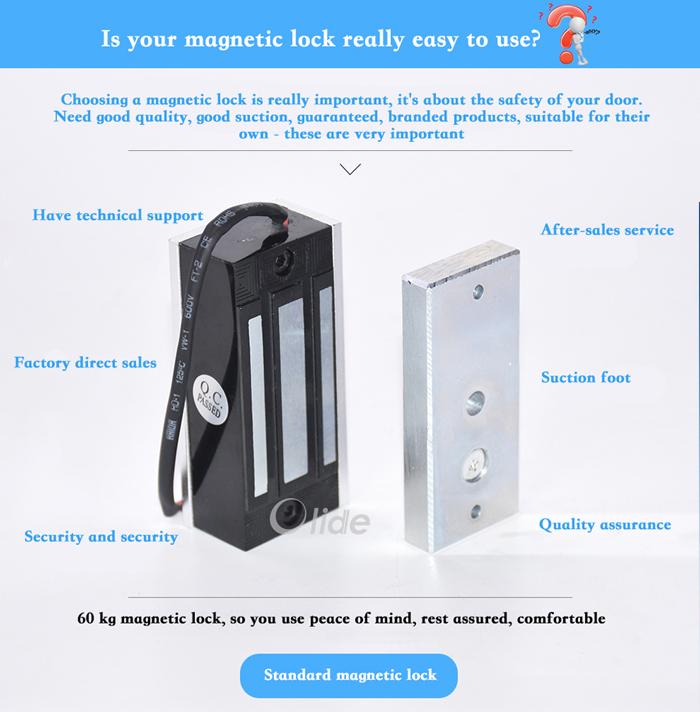 Small sliding door magnetic lock 60kg electromagnetic lock for 12v magnetic door lock