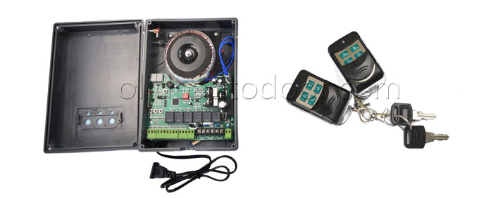 Swing garage gate opener control board and remote control